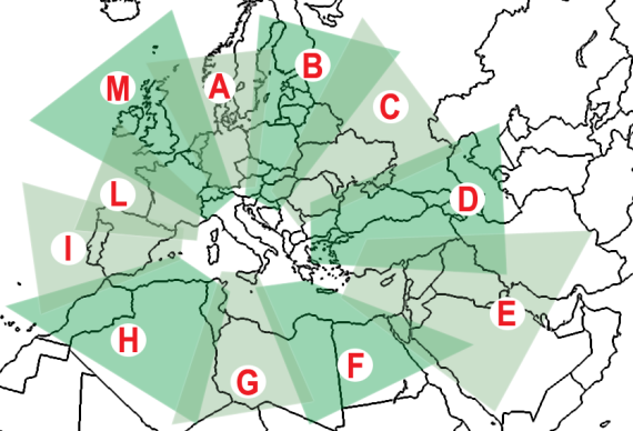 Target Areas covered by Directional Antennas